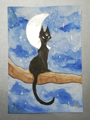 Black Cat Serie : Moonlight. Watercolor A5. 25€ + shipping