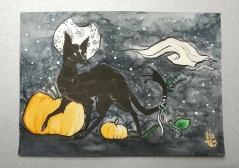 Black Cat Serie : Pumpkin. Watercolor A5. 25€ + shipping